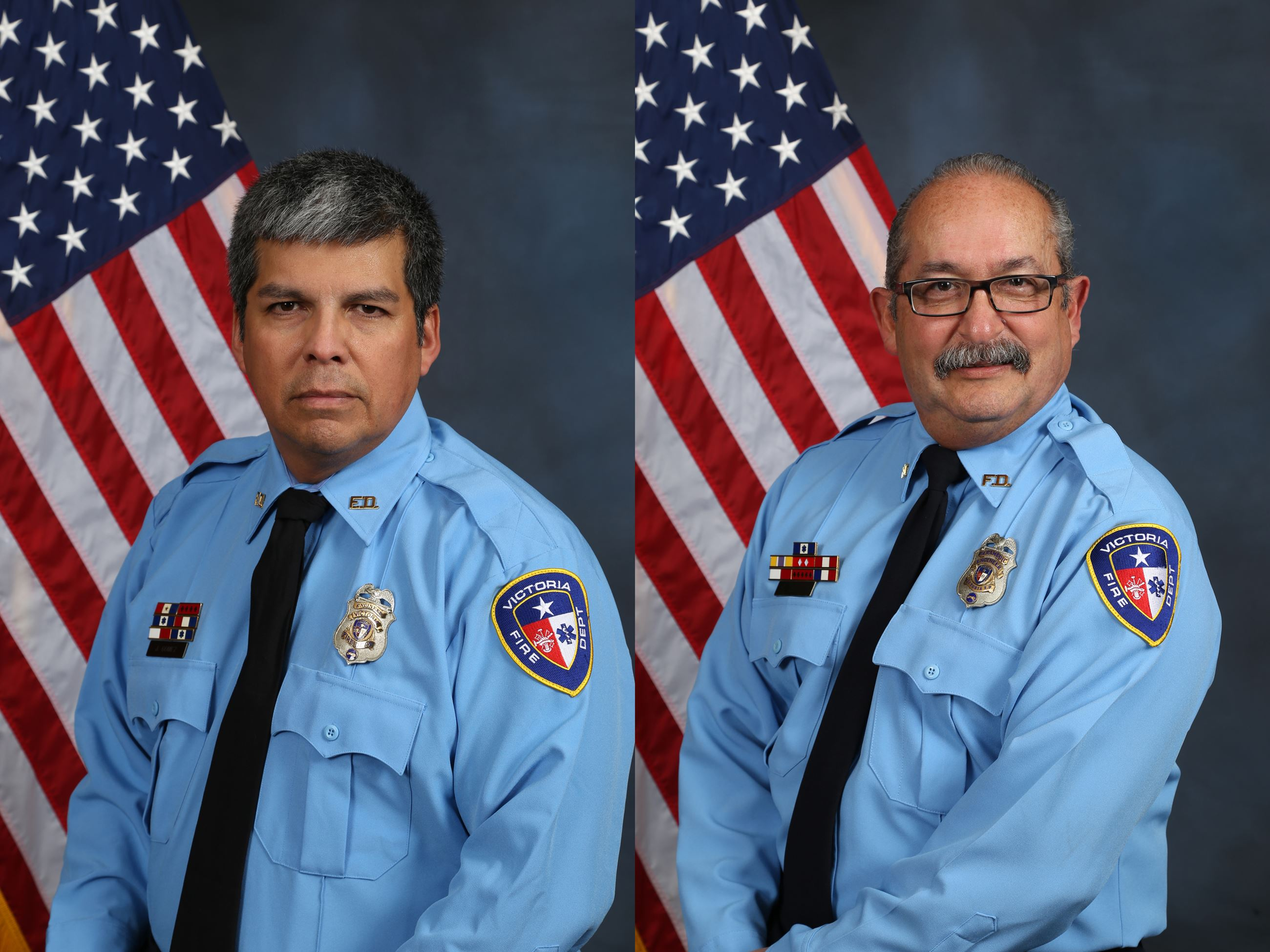 Firefighter engineers Joel Gomez and Raul Liendo
